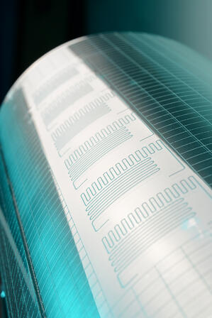 CAPTION: © Fraunhofer IPT ## Photograph of the drum barrel used to hot emboss microfluidic features during roll-to-roll production.