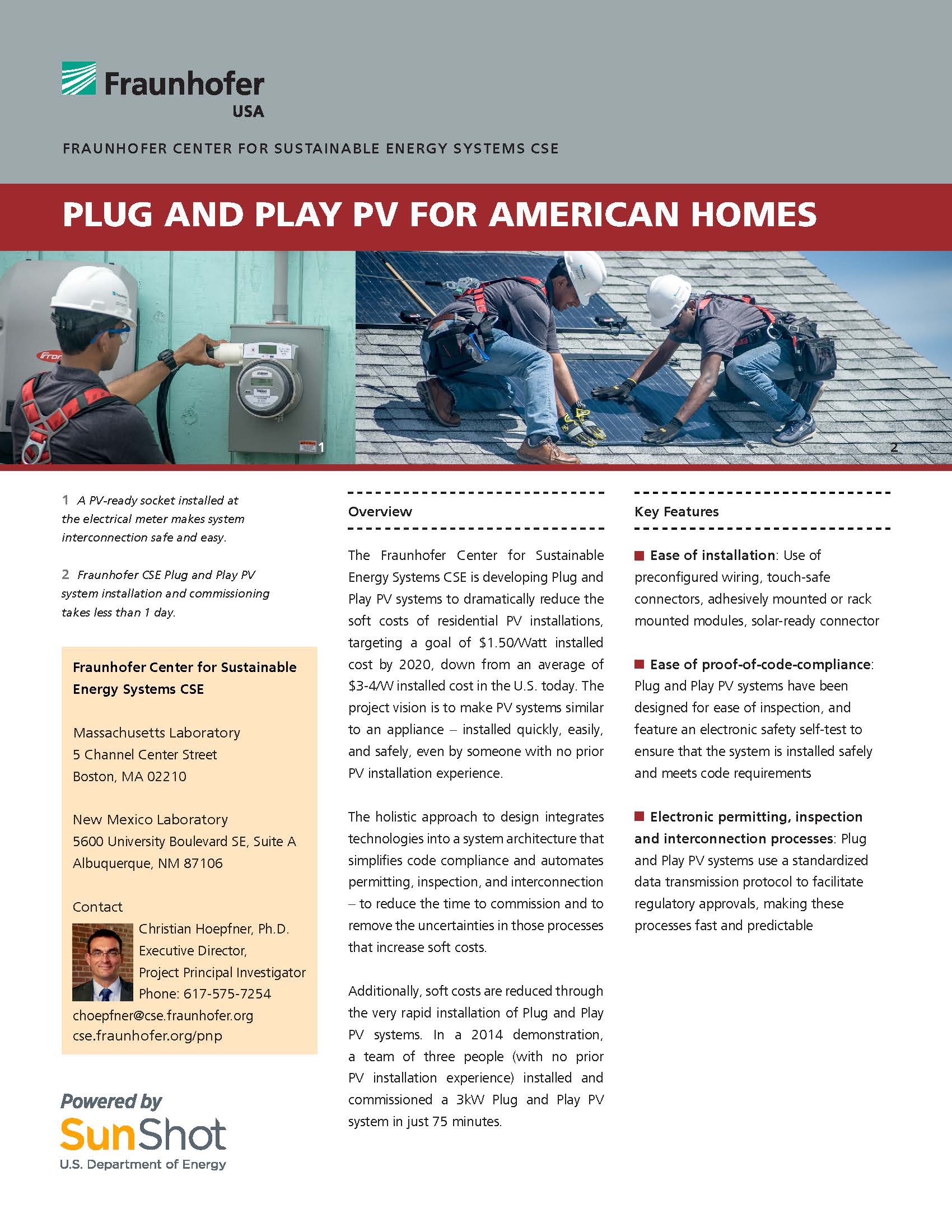 Plug and Play PV Systems for American Homes