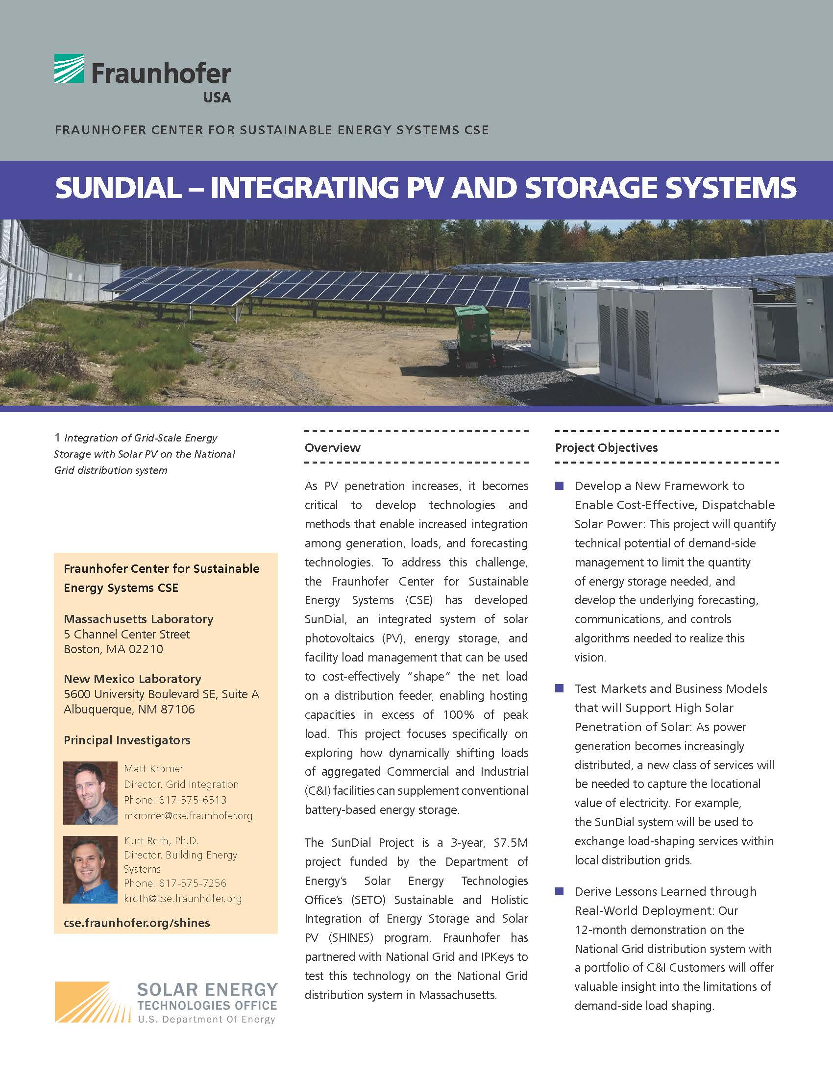 SHINES & Sundial- Integrating PV and Storage Systems
